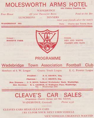Wadebridge Town v Newquay 1971-72 South Western League (football programme)