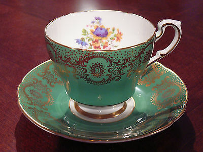 Paragon Green & Gold Teacup & Saucer