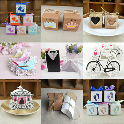 100pcs Wedding Engagement Birthday Party Decor Cake Candy Favor Gift Boxes Pack
