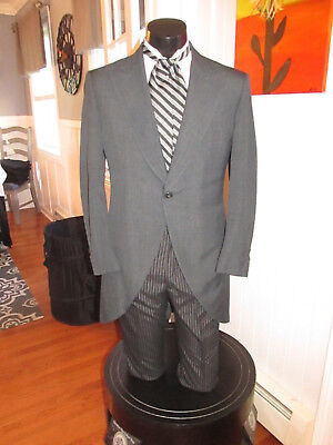Mens Vintage Victorian Charcoal Grey Cutaway Tuxedo Ascot Included Size 43Xl