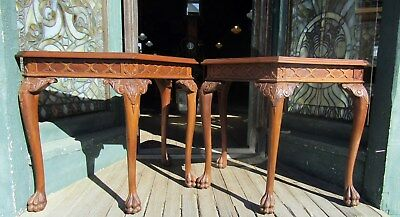 Pair Of Chippendale Style Walnut End Tables