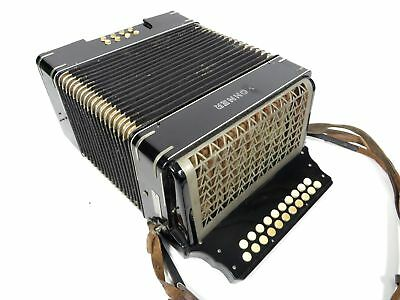Vintage 1930-40's Steel Reeds Hohner 2-Row Button Accordion Art Deco