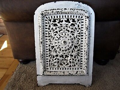 Shabby Cast Iron Arched Fireplace Front Grill Victorian Chic Heat Vent Register