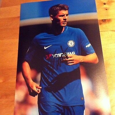 CHELSEA Alvaro Morata SIGNED 12x8 photo 2017-18 SIGNED