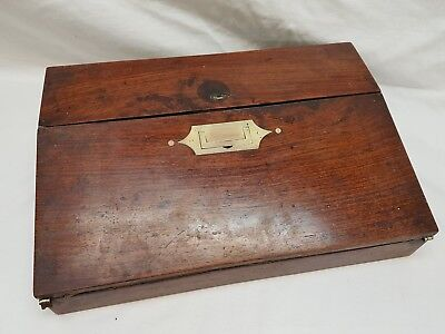 antique rosewood writing slope with brass, writing box, old, vintage