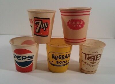 5 Different Soda Sample Cups, 7up, Tab, NuGrape, Pepsi and Double Cola.