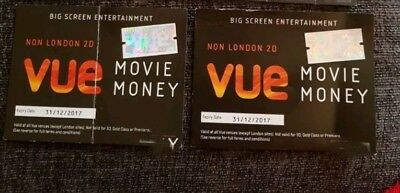 2 x Vue Cinema Voucher/Ticket. ANYDAY AND TIME. Expiry 31st October 2017