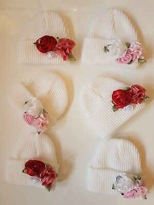Gorgeous baby Girl Gem Stone & Flower Hat Free Postage to UK Buyers £7.99