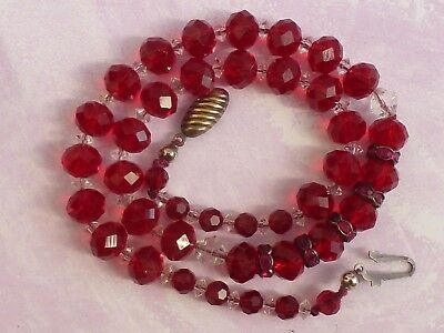 A Gorgeous  Vintage Ruby Red Crystal Glass Bead Necklace