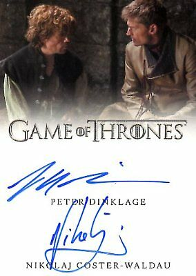 Game Of Thrones Valyrian Steel DUAL AUTOGRAPH card DINKLAGE & COSTER-WALDAU