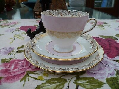 . Lovely Vintage Gladstone China Trio Tea Cup Saucer Plate Pastel Pink Gilded