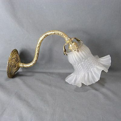 Antique French Art Nouveau Bronze and Frosted White Glass Wall Light Sconce Ivy