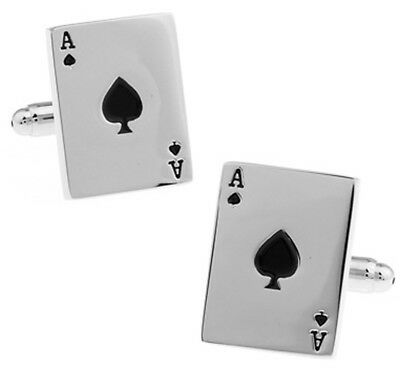 Brand New - Silver Ace Of Spades Cufflinks In Gift Box