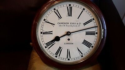 12in. fusee school /station clock. ..marked. camerer  cuss & co.?London