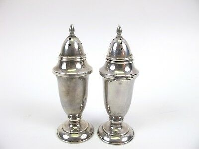 Antique 4''Sterling Silver .925 Salt & Pepper Shakers Weighted Bottom 101grams