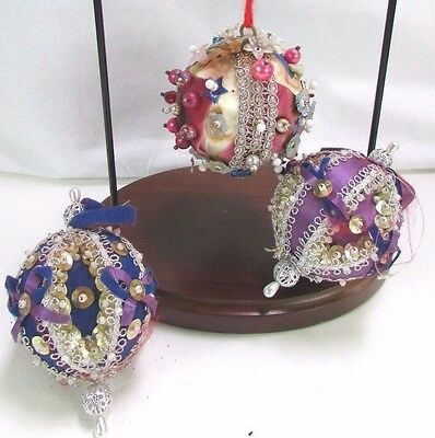 """Vintage 3 Round With Pins Sequins Velvet Indent Christmas Ornaments 3 1/2"""" RARE!"""