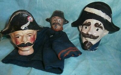 c19th  Punch &Judy  wooden carved /COMPO  MARIONETTEN /PUPPETS COPS HEADS