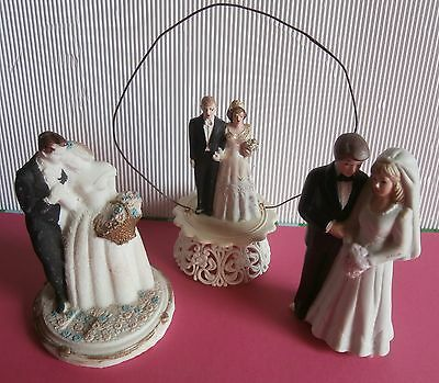 3 old  magnificent  WEDDING  TOP  CAKE  DECORATIONS  COUPLE