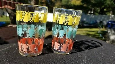 Vintage set of 2   Mod Aqua Coral Yellow Anchor Hocking Juice Glasses