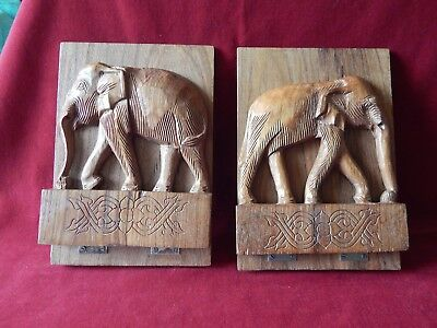 Pair Old Carved Wood Elephant Bookends