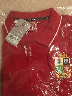 british and Irish Lions official supporters polo shirt, red, short sleeved