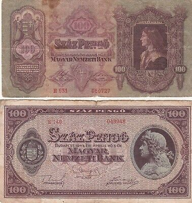 Hungary  2 Old Circulated 100 Pengo Notes  1930 &  1945