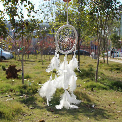 White Dream Catcher Circular Net With feathers Wall Hanging  Ornament Craft Gift