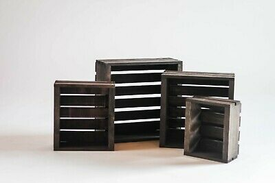 Vintage Stained Rustic Wood Crate- Set of 4