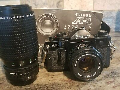 Canon A-1 35mm SLR Film Camera with FD 50mm f/1.8 Lens Kit & Canon 75-200mm lens