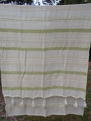 Vintage Sheer Cotton Cheesecloth Long Curtain Panel Tassels Striped Green Yellow