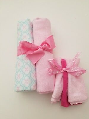 5pc Baby Girl Receiving Blanket & Washcloth Set Luvable Friends Baby Shower Gift
