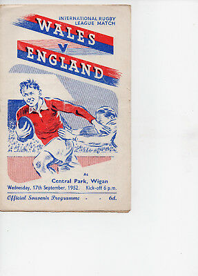 R.L. Programme  Wales v England  17-9-52 at Wigan,