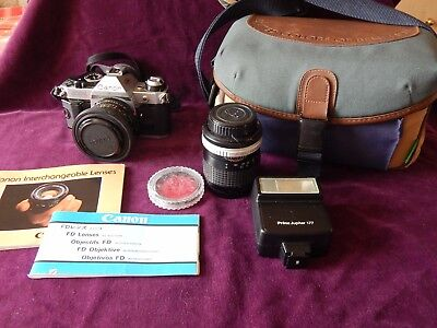 Vintage Canon AE-1 Program Camera With Benetton Bag & More Old