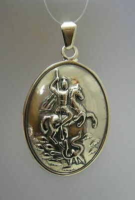 Sterling Silver Pendant Solid 925 Saint George New Pe000785 Empress