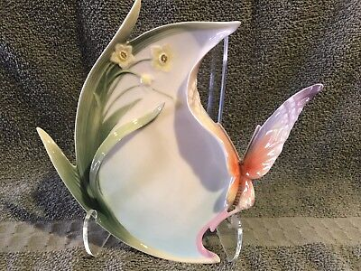 Franz Porcelain Papillon Butterfly Dessert Plate, Signed and Numbered w/ Stand