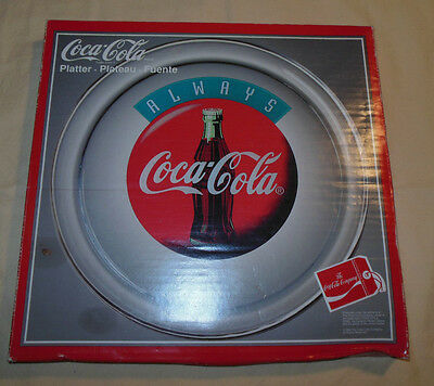 """Vintage 1994 Always Coca Cola Glass Plate Round 14"""" Platter Dish New In Box Rare"""