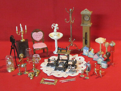 Lot of vintage dollhouse accessories, chair, clocks, sewing machines & more