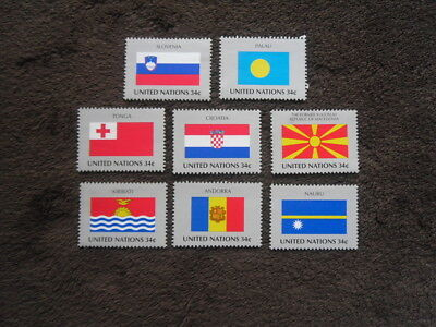 """UNITED NATIONS """"Flags"""" set of 8 values SG.349-356 MNH"""