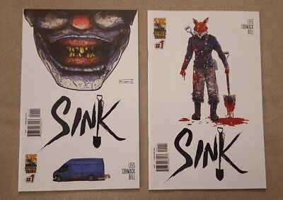 SINK #1 & 1 B Variant Comic Horror ComixTribe Mr Dig Set HTF Sold Out