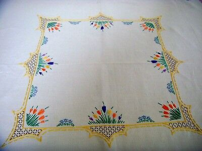 Vintage Hand Embroidered Tablecloth Spring Flowers Crocus Clarice Cliff Style