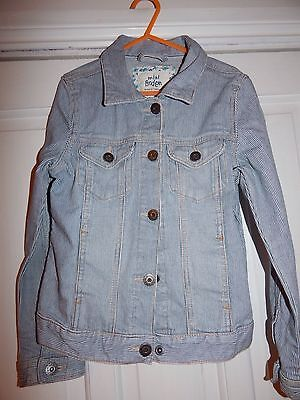 Mini Boden Blue & White Striped Denim Jacket Age 7-8 Years
