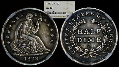 1839-O Seated Liberty Half Dime H10C NGC AU53 No Drapery Early US Type Coin
