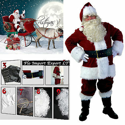 Vestito Costume Babbo Natale Deluxe Cosplay Santa Claus Christmas Suit SANTC03