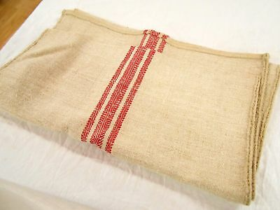 Vtg Antique RED STRIPE European HEMP LINEN FRENCH FEEDSACK GRAIN BAG 21X48