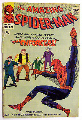 "The Amazing Spiderman #10 Fantastic Steve Ditko Art ""the Enforcers"" 1964!"