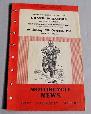 Leicester Lowesby Station Motor Cycle Scramblec Race Programme 1960 (Lot 8)