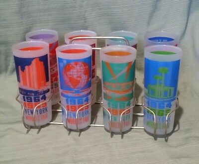 New York Worlds Fair 1964-1965 Vintage Frosted Glasses *Mint Set of 8 w/Base