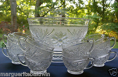 Anchor Hocking Glass Clear Sandwich Punch Bowl & 12 Cups & Base Set