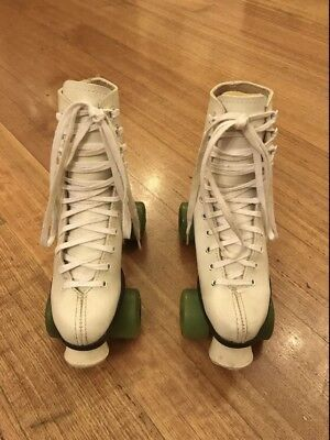 Girls Genuine White Leather Roller Skates With Green Wheels Size 4