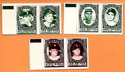 3 Panels 1961 Topps Stamps Milwaukee Braves, Pirates Red Sox Tigers